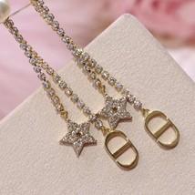 AUTH Christian Dior 2020 GOLD CRYSTAL J'ADIOR DANGLE STAR PEARL EARRINGS  image 4