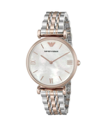 New Emporio Armani Classic Rose Gold Silver Mother of Pearl Women's Watch AR1683 - $128.65