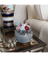 Handcrafted Embossed Ceramic Vase with Preserved Natural Flower Everlast... - $54.95+
