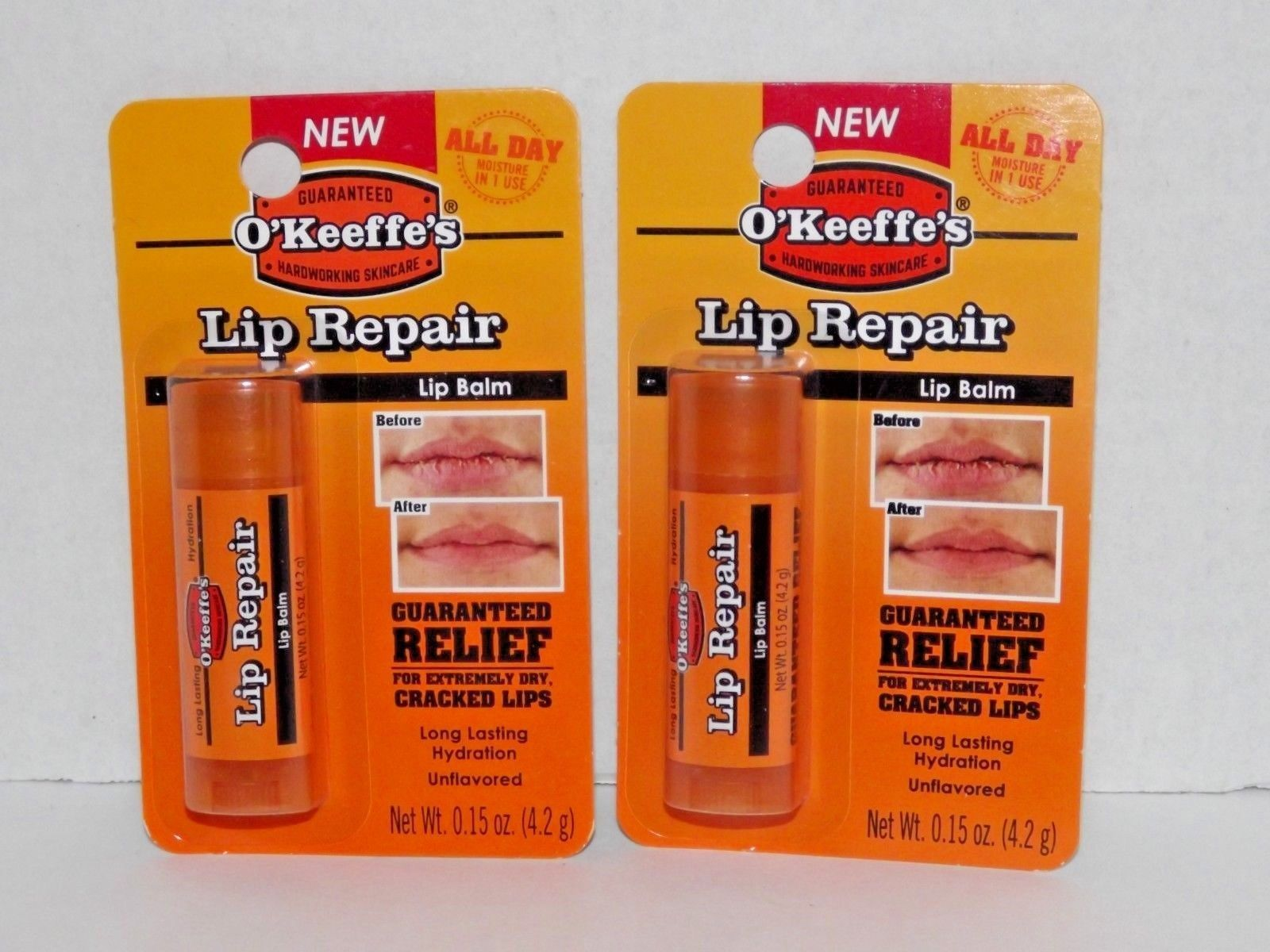 Primary image for 2 Packs O'Keeffe's Lip Repair Balm Unflavored 0.15 Oz Each New (Q)