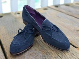 Handmade Men's Blue Suede Slip Ons Loafer Tassel Suede Shoes image 4