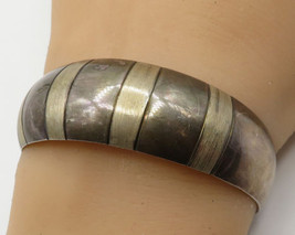 MEXICO 925 Sterling Silver - Two Toned Stripe Design Cuff Bracelet - B1883 - $59.00