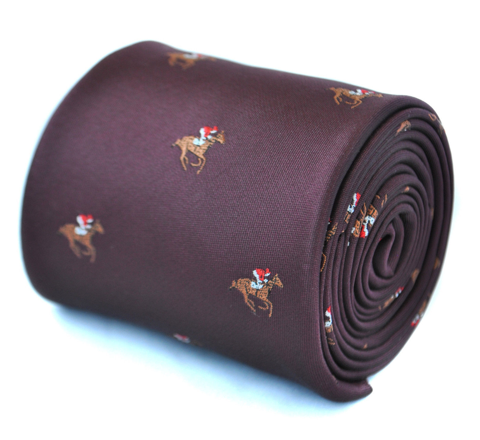Frederick Thomas maroon tie with horse racing design FT1924