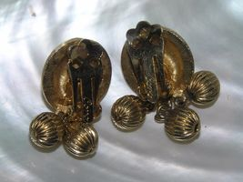 Vintage Coro Signed Etched Goldtone Domed Disk with Three Bead Dangle Clip Ear image 3