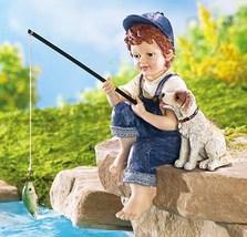Little Boy Fishing Outdoor Garden Pond Sculpture - $27.41