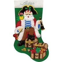 Design Works Pirate Nautical Treasure Chest Christmas Felt Stocking Kit 5242 - $29.95