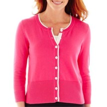 Liz Claiborne 3/4-Sleeve Mod Pink Cardigan Sweater Size S New Msrp $48.00 - $16.99