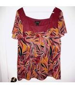 LANE BRYANT Shirt Plus 22/24W Sheer Lined Maroon Orange Coral Women Top - $21.37