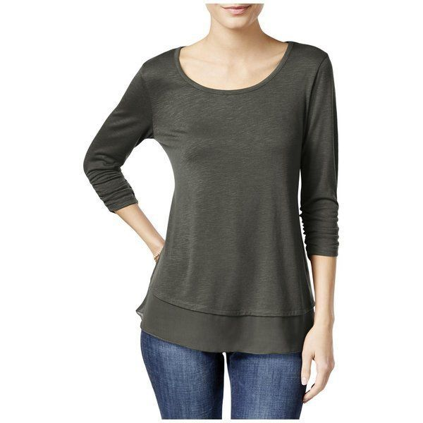 Primary image for Style & Co. Womens Medium Gray Slub Chiffon Trim Casual 3/4 Sleeve Shirt Top