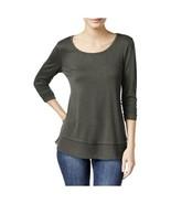 Style & Co. Womens Medium Gray Slub Chiffon Trim Casual 3/4 Sleeve Shirt... - $16.82