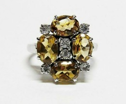 14KT 14K White Gold on Solid Sterling Silver YellowTOPAZ Gemstone Ring S... - $39.58
