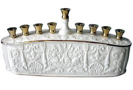 Lenox Judaic Menorah Embossed Chanukah $172 New In Box - $162.11 CAD