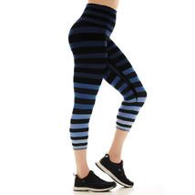 K-Deer Women's Blue/Black/Grey Emme Stripe Capri Length Leggings, XS-4X image 4