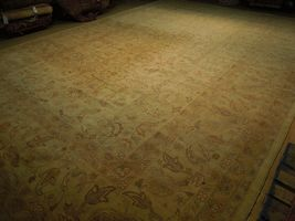 New Vintage Look Perfect Chobi Hand-Knotted 12x18 Beige Oushak Wool Rug image 5