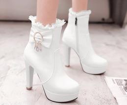 83B013 elegant lace booties w pendants, US Size 4-8.5, white - $58.80