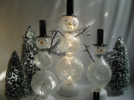 3   Glass Snowman Figures Star Indent Lighted LED Black Top Hats - $103.46