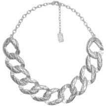Karine Sultan Bold Curb Link Collar Necklace Silver-Plate, 24k Gold-Plate France - $77.95
