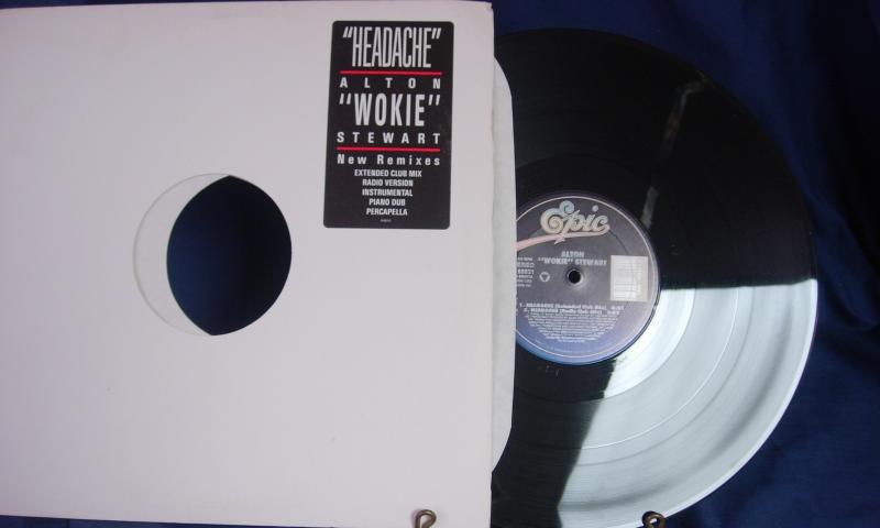 """Alton """"Wokie"""" Stewart - Headache - 5 Mixes - Epic Records 49 68831 Promo"""