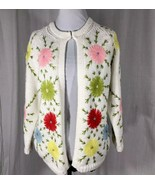 Joly 1950 Cardigan Sweater Hand Loomed Decorated Multi Color Flowers  Ho... - $82.12