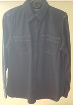 LAUREN RALPH Lauren Women Denim Pocket Shirt Navy Jeans Botton Down Medium - $39.99