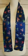 "Smithsonian Institution Silk Butterfly Scarf Blue Colorful 4.5"" X 52"" Japan - $19.50"