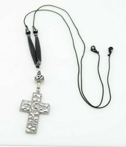 Moon Star Celestial Crucifix Silver Tone Art Glass Bead Beaded Necklace - $19.79