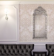 """Venetian Arched Crown Wall Mirror 43"""" Rectangle Etched Regency European Chic - $336.59"""