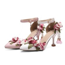 Strap Heels Ankle Flower Women Woman High Thin Brand Pumps Shoes Wedding Heels F4qgpwz