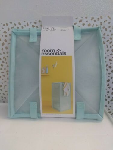 "Room Essentials Pop Up Hamper Aqua Mesh Rectangular 26x13x13"" New [GS X]"