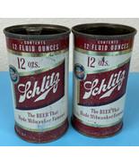 SET OF 2 Schlitz Flat Top 12oz. Empty Beer Can 1954 Top Open Vintage RARE  - $25.55