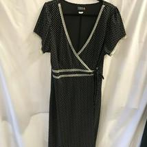 Torrid Dress Black White Print 1 1X 18 20 Vintage Inspired Wrap Around - $47.49