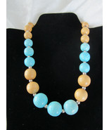 Vintage necklace wooden beads tan robins egg speckled blue silver tone  - $19.00