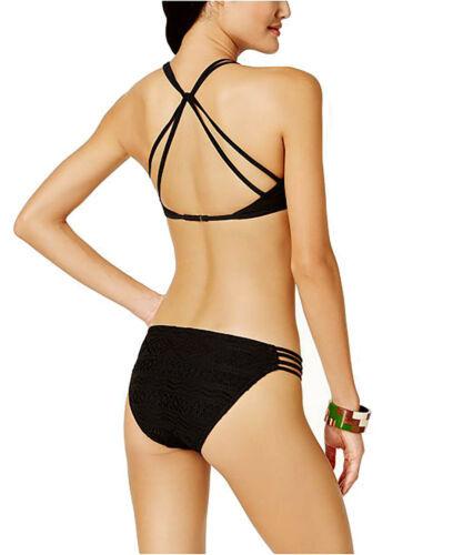 Hula Honey Little Wild One High-Neck Crochet Top Women Swimsuit (Black, M)