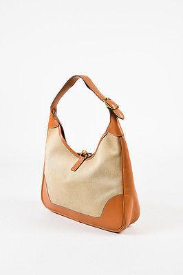 """VINTAGE Hermes Beige Tan Box Calf Leather Canvas """"Trim I"""" Shoulder Bag image 2"""
