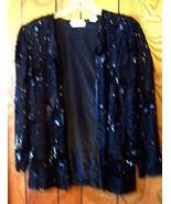Sz L - Sweelo 100% Silk Black Beaded & Sequin Jacket Top  - $47.49