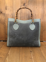 Authentic GUCCI Bamboo Green Gray Suede Leather Tote (Re-Lined) Princess... - $295.00