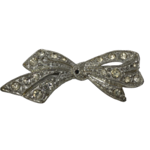 Vintage Rhinestone Bow Brooch Silver Tone Pin C Clasp Ornate Unsigned - $18.80
