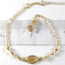 Bracelet en or Jaune 750 18K, Rolo, Billes à Facettes Médaille Miraculeuse image 1