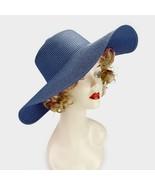 Navy Blue Basic Straw Floppy Sun Beach Hat - $15.50