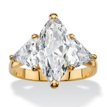 PalmBeach Jewelry 6.06 TCW Cubic Zirconia 14k Gold-Plated 3-Stone Ring - $13.63