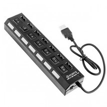 7-Port High Speed USB Hub with On Off Switch - Black - $15.82