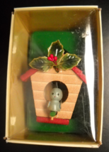 Russ Country Antique Ornament Bird House Red Roof and Holly Blue Bird Boxed - $12.99