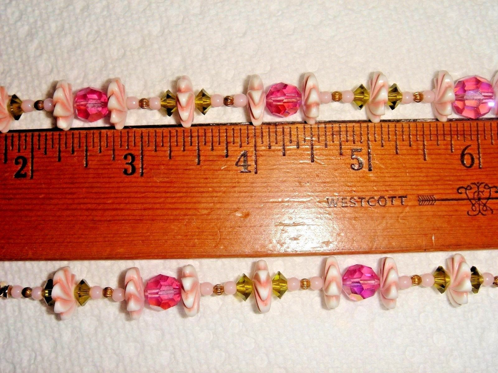VTG 1950's CZECH GLASS FLOWER CHOKER HUGE PINK RHINESTONE DROP CLIP EARRING SET