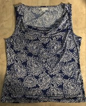Liz Claiborne Womens Tank Top Size Medium Blue White Floral - $10.39