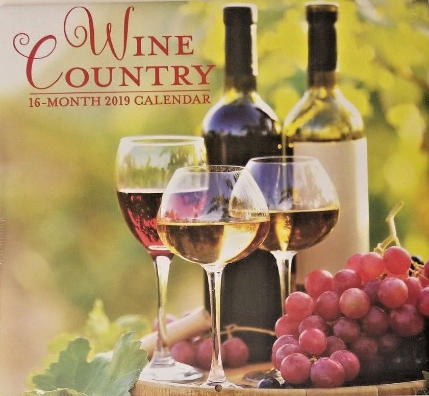 "WINE COUNTRY CALENDAR 2019 16-Month Papercraft Vineyard Grapes Tuscan 12"" NEW"