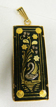 VTG Toledo Damascene Gold & Black Floral Swan Lake Pendant - $33.26