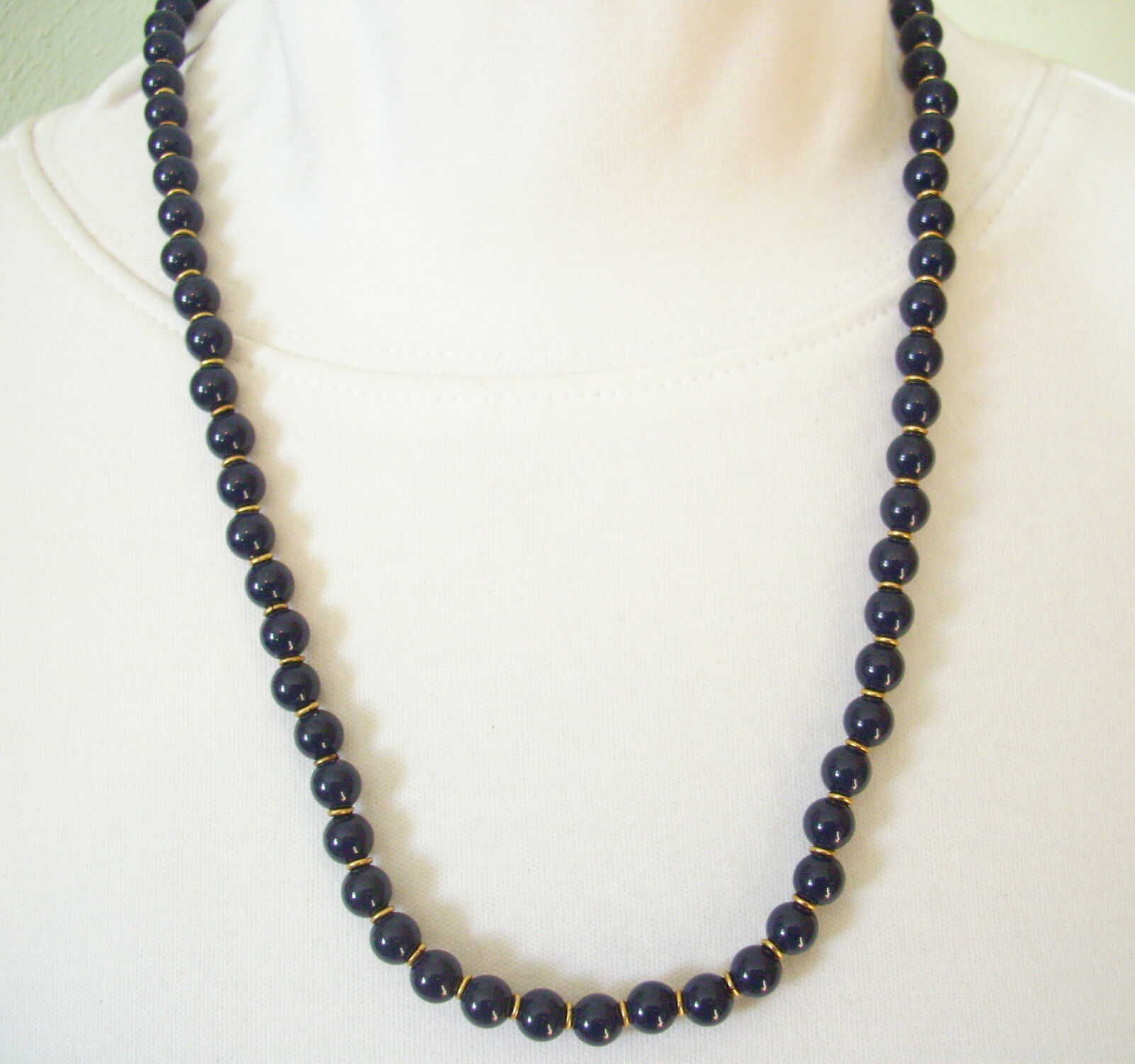 NAPIER NAVY Blue Beads Necklace Gold Plate Spacers Strand String Vintage