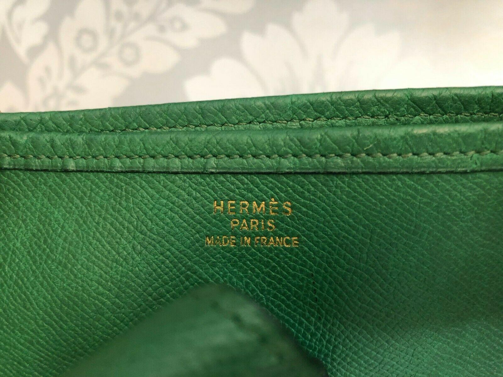 """HERMES Green Classic """"EVELYNE GM"""" Leather Tote/Shoulder Bag $$$$ image 8"""