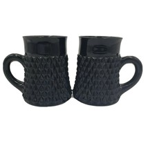 Indiana Glass Black Diamond Point Mugs Cups Set of 2 - $29.95