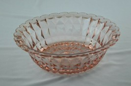 Jeannette Glass Windsor Pink Round Vegetable/Large Berry Bowl 1932-1946 - $34.65